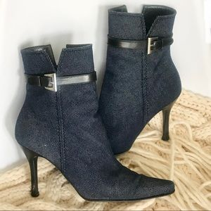 Stuart Weitzman Leather Denim Boots Kitten Heel